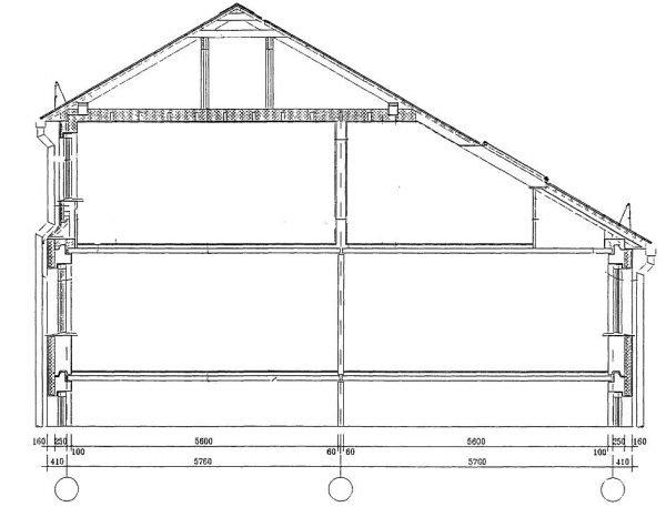 Чертёж асимметричной крыши здания