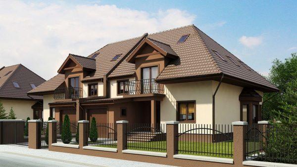 Многоуровневая мансарда со смешанным опиранием крыши
