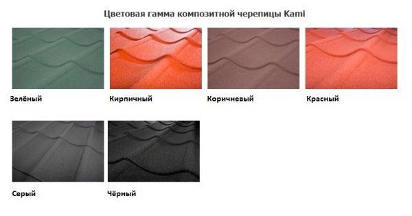 Цветовая гамма композитной черепицы Kami