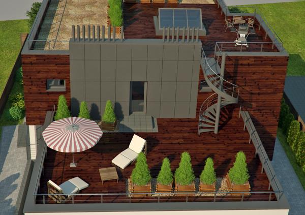 Эксплуатируемая крыша на частном доме