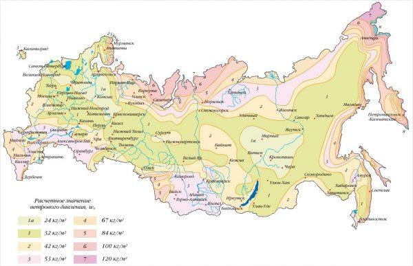 Карта районирования РФ по ветровому давлению