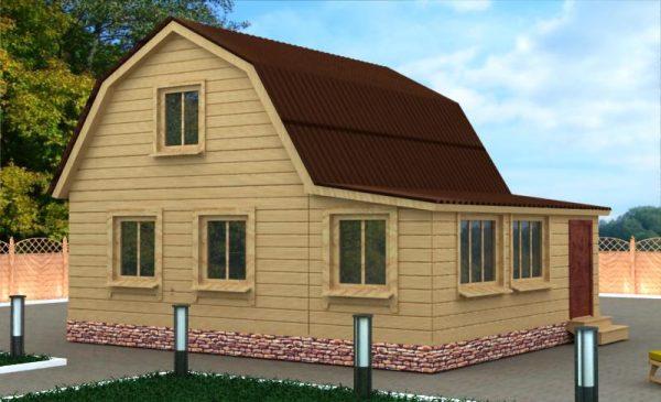 Ломаная крыша со скатом над верандой