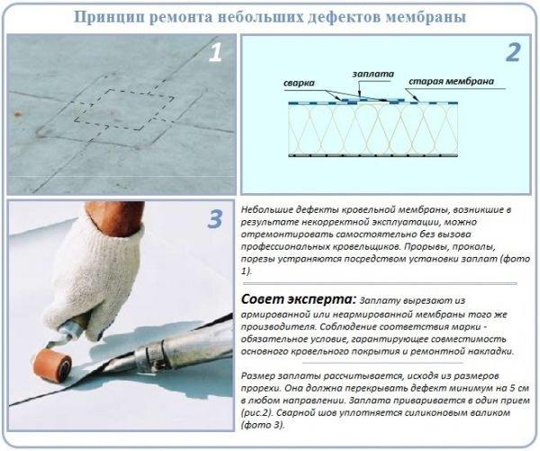 Ремонт дефектов мембранной кровли