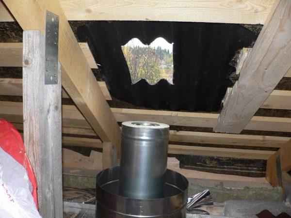 Отверстие в скате крыши для вывода трубы