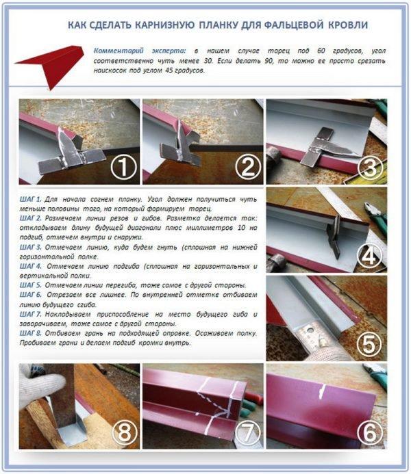 Схема изготовления карнизной планки