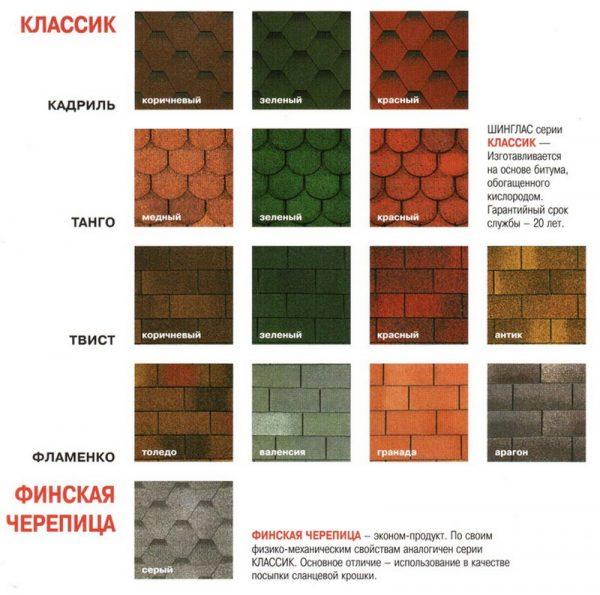 Цветовая гамма серий «Классик» и «Финская Черепица»