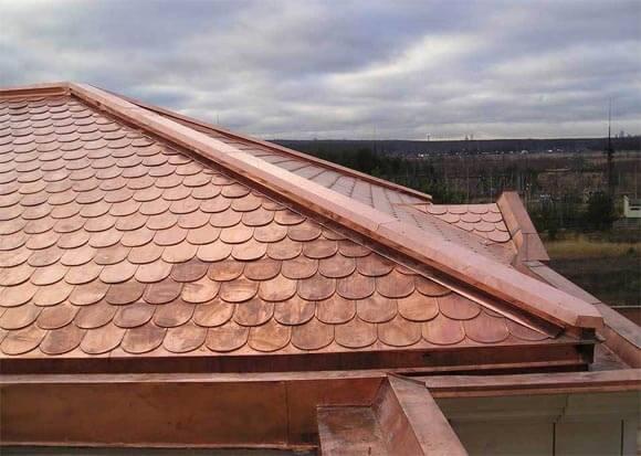 Крыша из медной черепицы