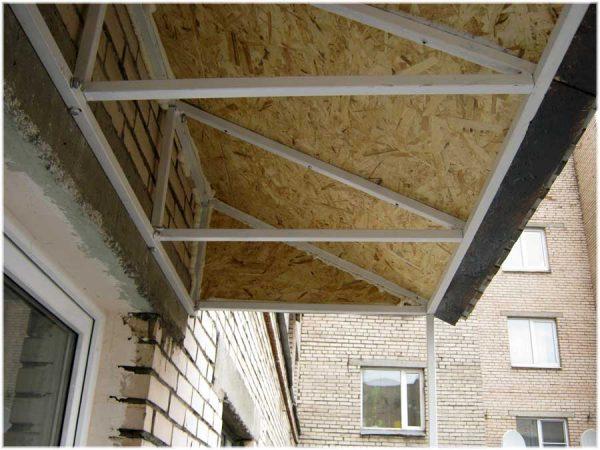 Неутеплённая крыша независимого типа для балкона