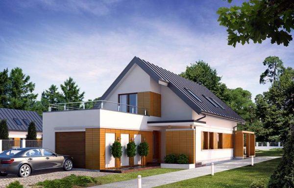Дом с мансардой и открытой террасой над гаражом