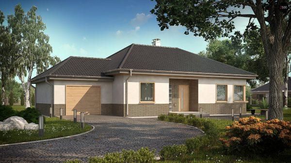 Одноэтажный дом с гаражом, пристроенным слева