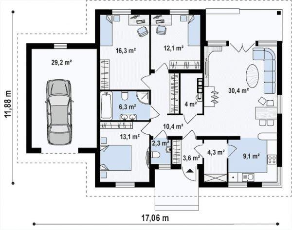 План первого этажа и гаражного бокса
