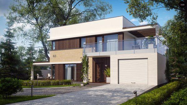 Двухэтажный дом с террасой на пристроенным гаражом