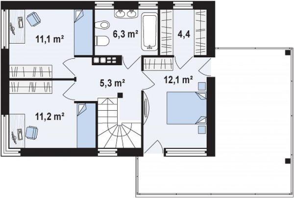 План второго этажа с террасой и тремя спальнями