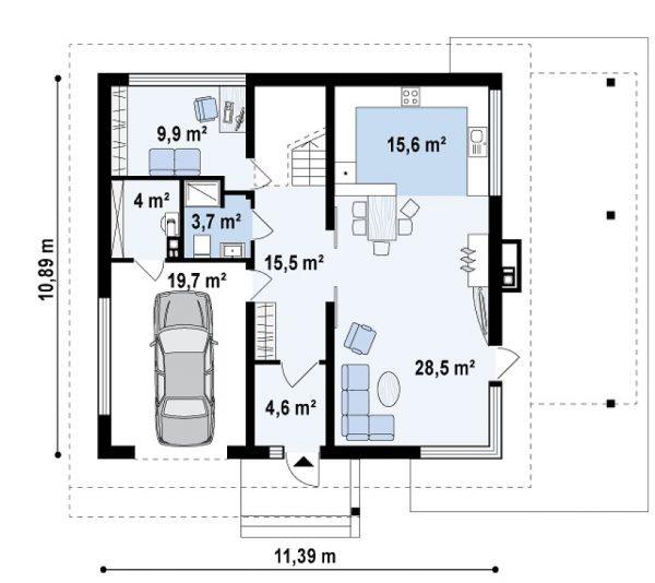 План первого этажа двухэтажного дома со встроенным гаражом