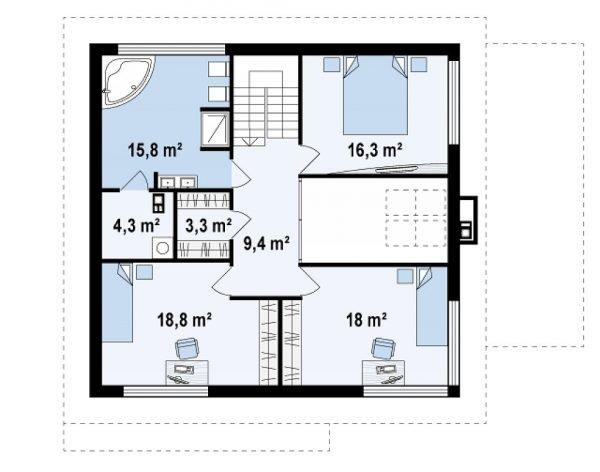 План второго этажа двухэтажного дома со встроенным гаражом