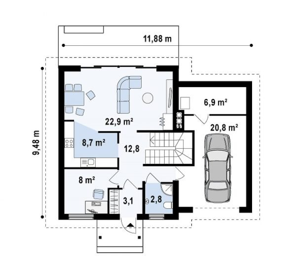 План первого этажа дома со встроенным гаражом