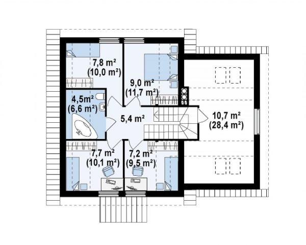 План мансардного этажа дома со встроенным гаражом