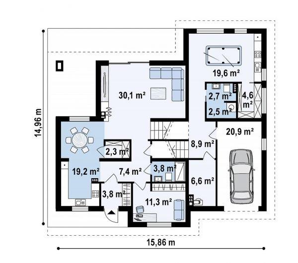 План первого этажа дома с цоколем