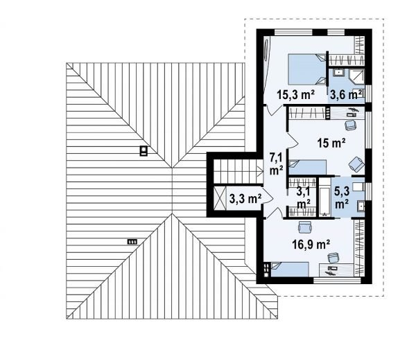 План второго уровня дома с цоколем