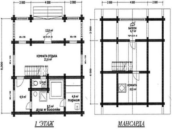 План дома с баней на 1 этаже