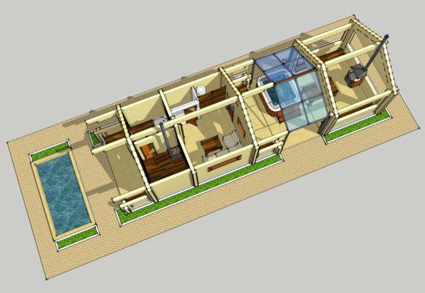 План дома с баней и бассейном