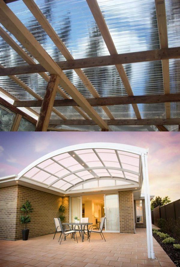 Прозрачные крыши из пластикового шифера