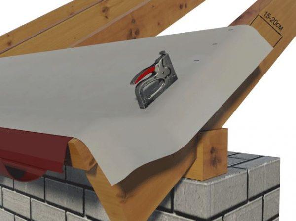 Монтаж гидроизоляции на крышу бани