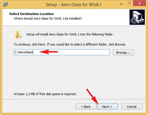 Путь установки Aero Glass