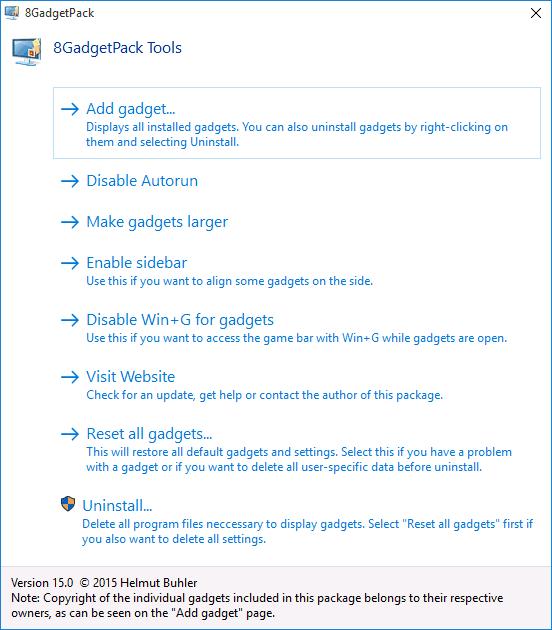 Настройки 8GadgetPack