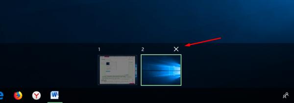 Удаление рабочего стола в Task View