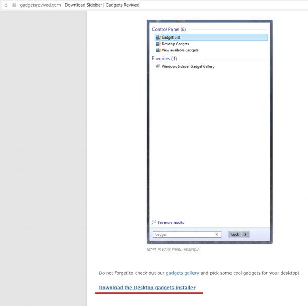 Ссылка Download the Desktop gadgets installer на сайте разработчика программы Gadgets Revived