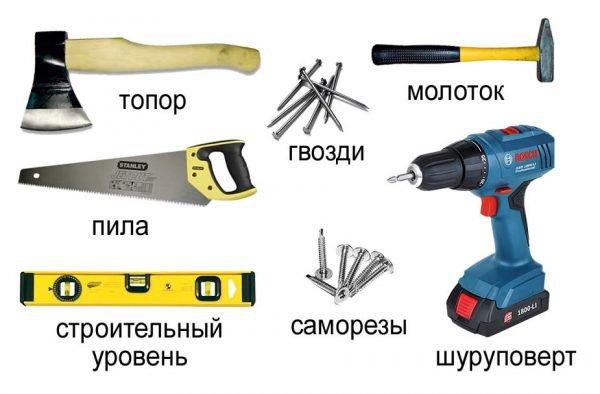 Инструменты для строительства односкатной крыши