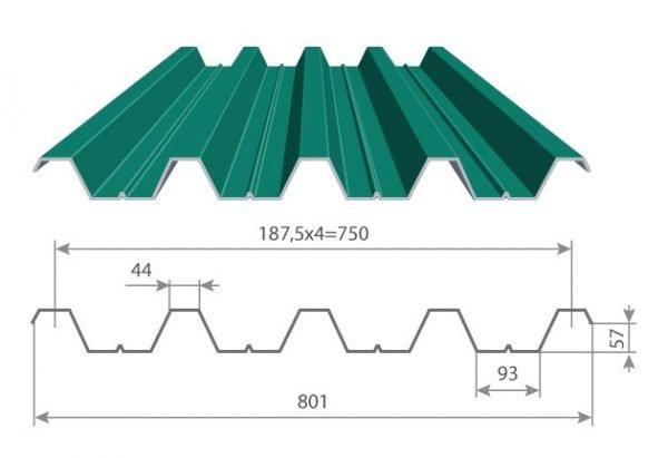 Схема несущего профнастила Н57
