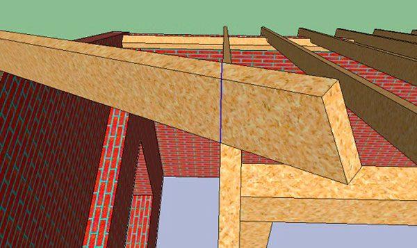 Разметка верхнего запила углового стропила