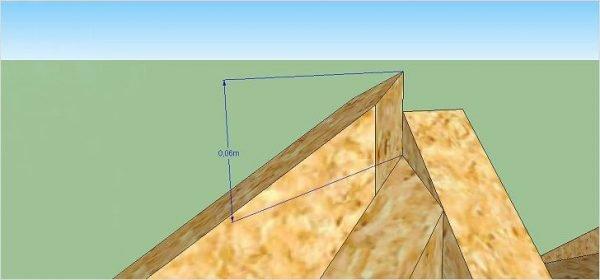 Измерение размера углубления стропила в мауэрлат