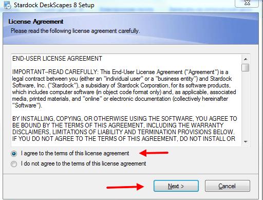 Окно с лицензионным соглашением программы DeskScapes 8