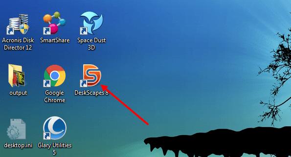 Ярлык программы DeskScapes на рабочем столе