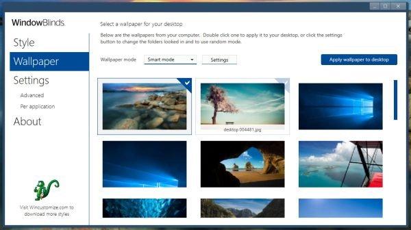 Вкладка Wallpaper в программе WindowBlinds 10