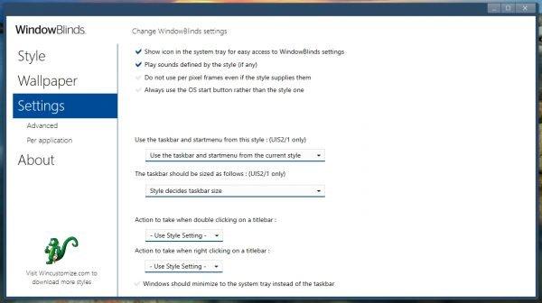 Вкладка Settings в программе WindowBlinds 10