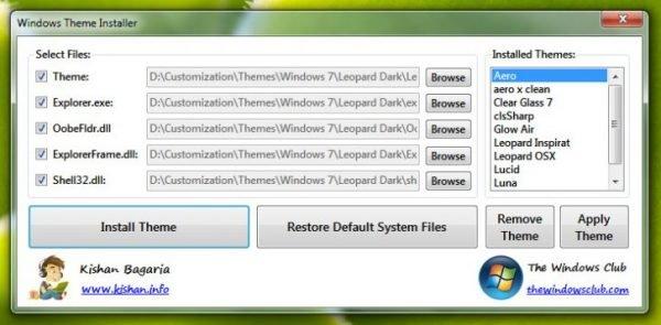 Интерфейс Windows Themes Installer
