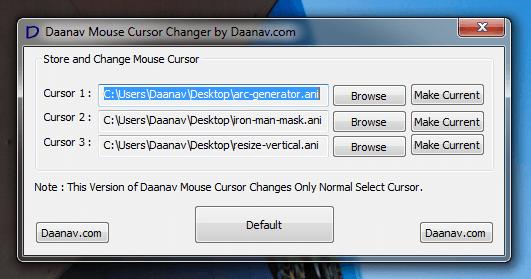 Интерфейс программы Daanav Mouse Cursor Changer