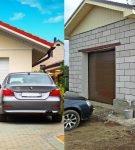 Гаражи для одной машины с двускатной крышей