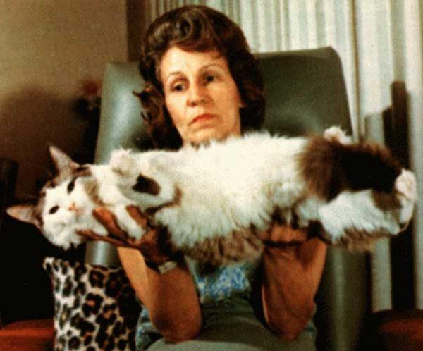 Энн Бейкер держит кошку на руках