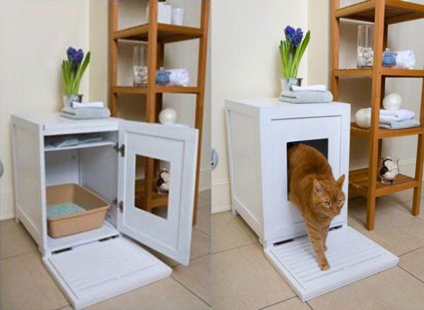 Кошачий туалет из тумбочки