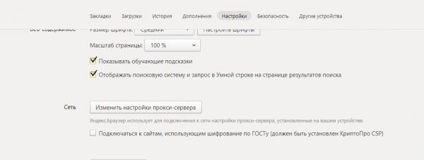 Блок «Сеть» в настройках «Яндекс.Браузера»