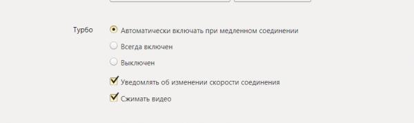Блок «Турбо» в настройках браузера Yandex