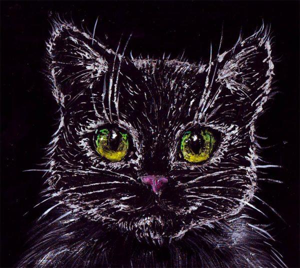 Рисунок кота в технике граттаж