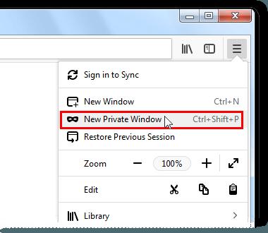 Вход в режим приватного просмотра Firefox