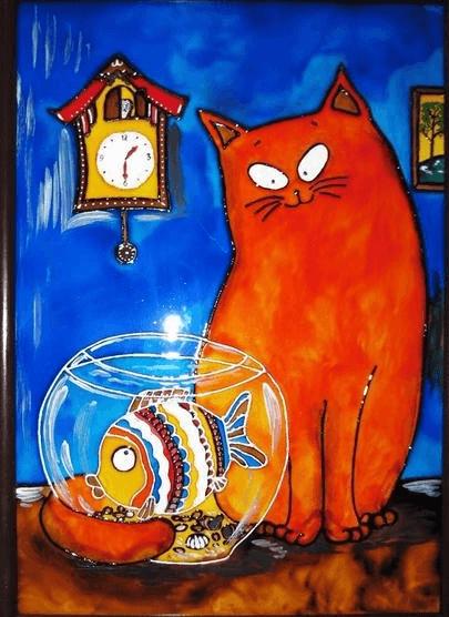 Рисунок кота акрилом