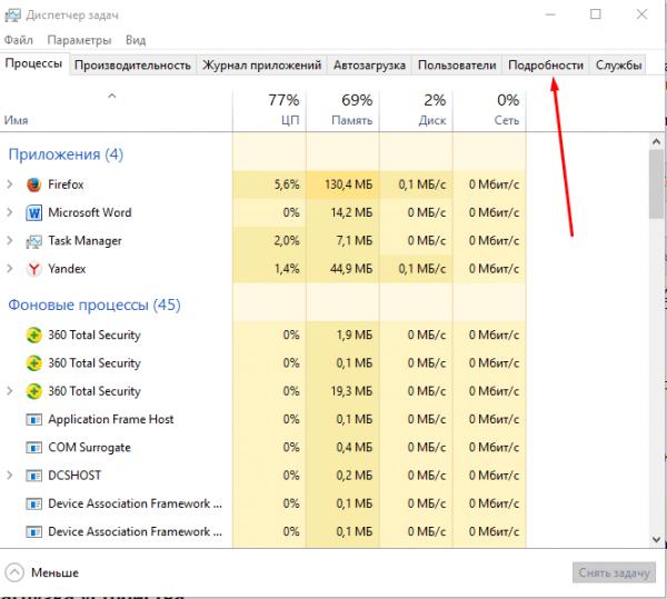 Вкладка «Процессы» в «Диспетчере задач» Windows 8/10